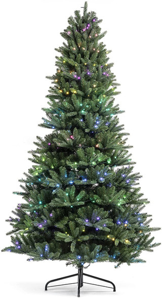 Twinkly - TWT250STP RGB - App-Controlled Pre-lit Christmas Tree (5 ft) with 250 RGB Multicolor LEDs - Green Cable - Indoor Christmas Decorations - Generation II