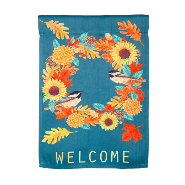 "Evergreen Chickadee Wreath ""Welcome"" Garden Flag"