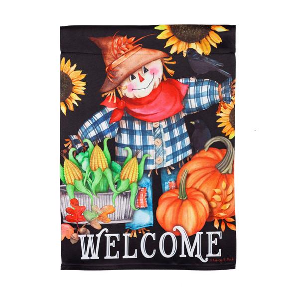 """Evergreen Suede Scarecrow """"Welcome"""" Garden Flag"""