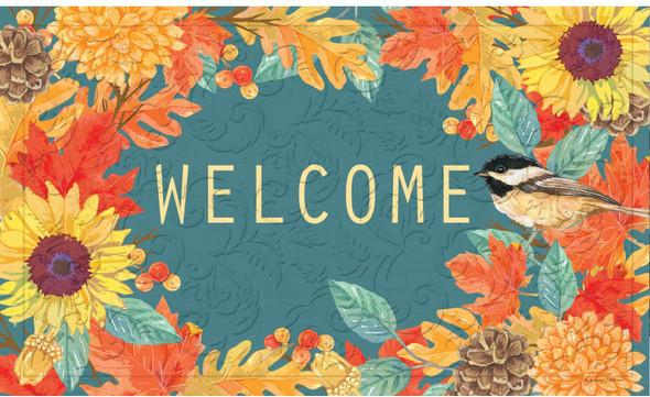 """Evergreen Chickadee Wreath """"Welcome"""" Embossed Floor Mat"""