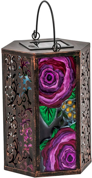 Evergreen Glass and metal Solar lantern, Cabbage Rose