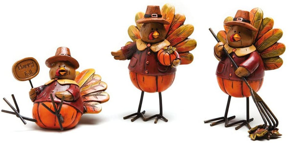 Evergreen Decorative Turkeys Polystone Fall Table Decor (Set of 3)