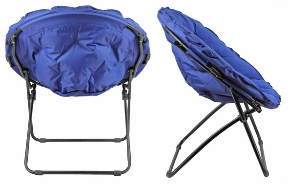 """Zenithen Round Foldable Padded Dish/Saucer Chair For Dorm, Bedroom, 32"""", Blue"""