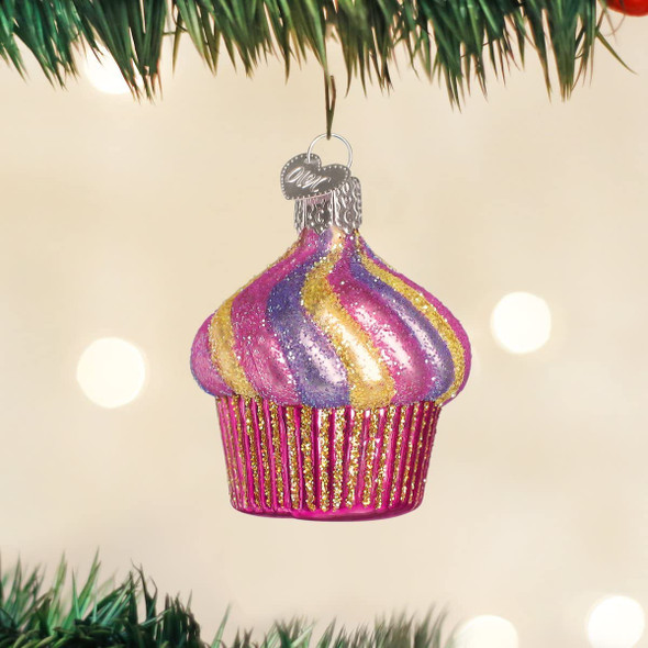 Old World Christmas Glass Blown Ornament Cupcake (#32043)