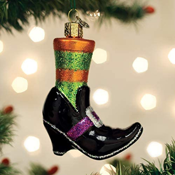 Old World Christmas Glass Blown Ornament Witches Shoe (#26086)