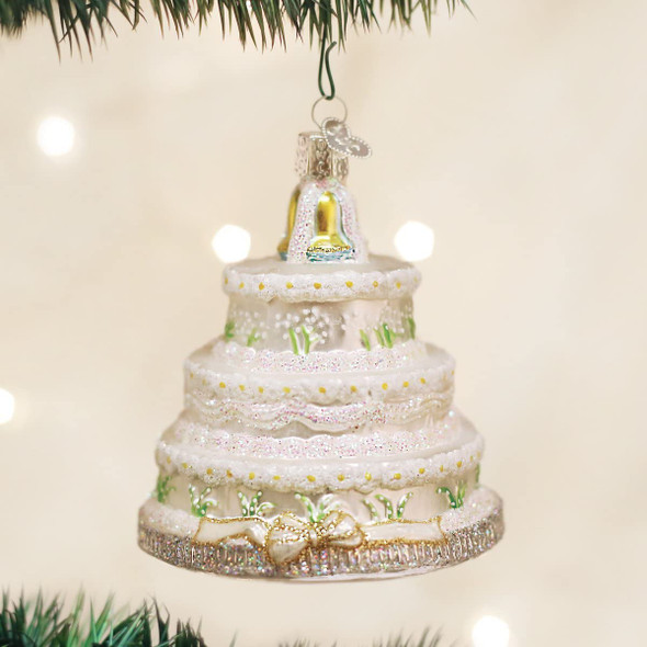 Old World Christmas Glass Blown Ornament Wedding Cake (#32017)