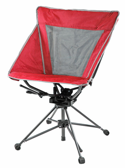 Garden Elements Tall Back Swivel Camping Patio Polyester Chair, Mesh Seat, Red (Pack of 1)