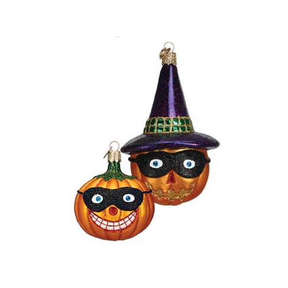 Old World Christmas Glass Blown Ornaments (#26063) Masked Jack O'Lantern, Assorted (2 Pack)