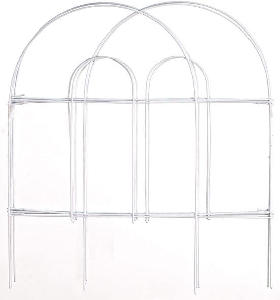 Origin Point Metal Garden Border Round Folding Fence, White, 18-Inch x 8-Feet