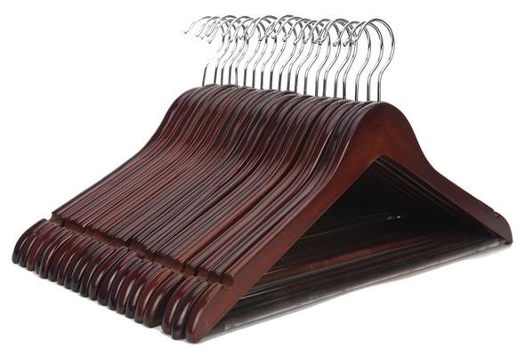 JS HANGER Multifunctional High Grade Solid Wooden Suit Hangers, Coat Hangers, Walnut Finish (20 Pack)