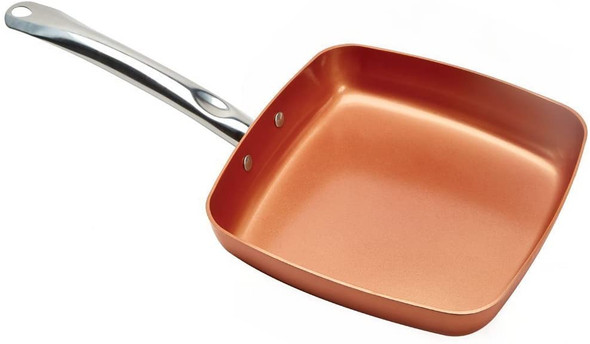 Copper Chef 9.5 Inch Square Frying Pan - Skillet with Ceramic Non Stick Coating. Perfect Cookware For Saute And Grill