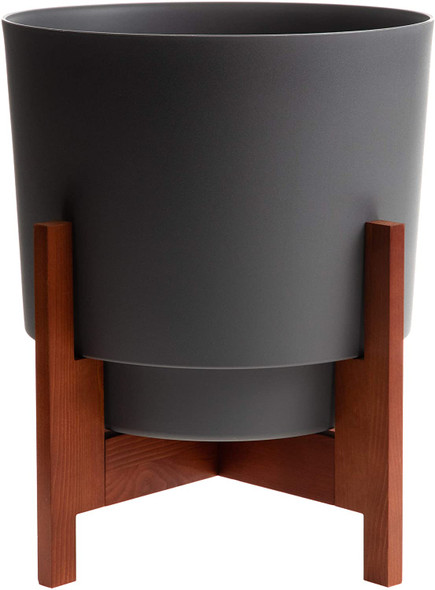 """Bloem Hopson Planter w/Wood Stand, Charcoal Gray, 14"""""""
