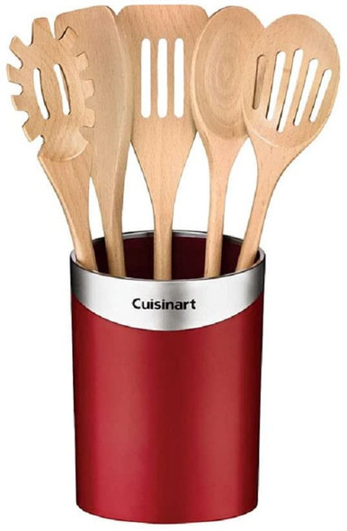 Cuisinart Kitchen Wooden Cooking Tool Set, Red (5 Tools, 1 Container)