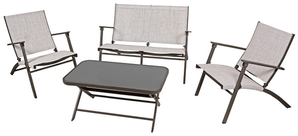 Four Seasons Novara Steel Folding Patio Set, Folding Table, 2 Chairs & Loveseat  - 4 Piece
