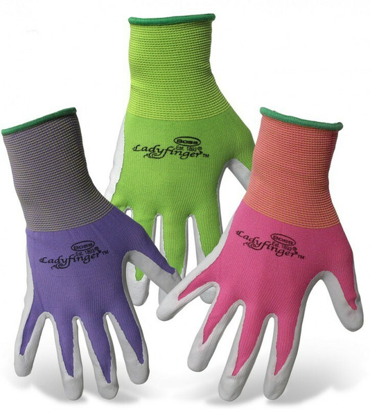 Boss Ladyfinger Outdoor Garden Gloves Gloves, Assorted Colors - Small (1 Pack)