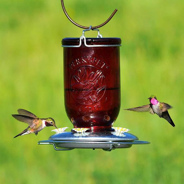 Perky-Pet (#786) Red Mason Jar Glass Hummingbird Feeder, 32oz Capacity