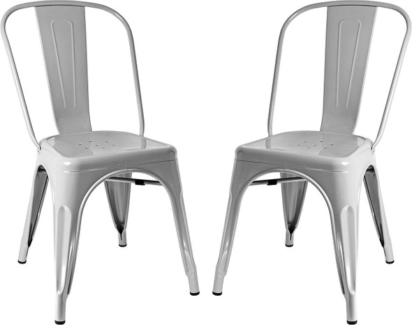 Sunjoy Group Stackable Metal Cafe Chair, Gray (Pack of 2)
