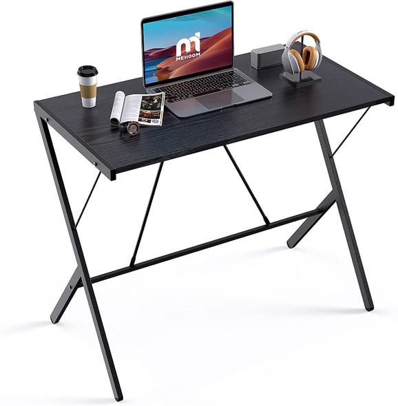 "Mehoom Modern Metal Study Desk for Home Office, Table, Black, 35.4"""