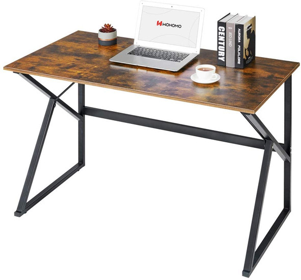 """WOHOMO Small Computer K-Shaped Desk for Home Office Desk Table, Caramel, 39"""""""