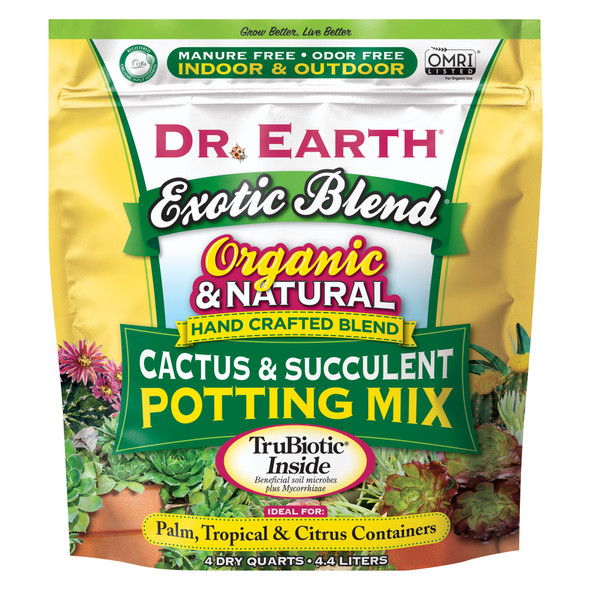 Dr. Earth Organic & Natural Cactus & Succulent Potting Mix, 4 qt