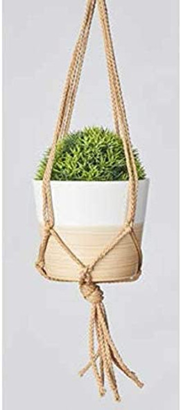 "Primitive Planters Mini Macrame Hangers - Tan, 18"""