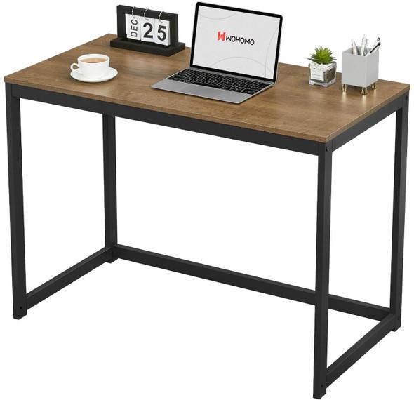 "WOHOMO Small Modern Computer Study Desk For Home Office, Dark Brown, 39"""
