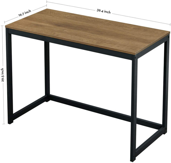 """Green Forest Small Modern Computer Study Desk For Home Office, Dark Brown, 39"""""""