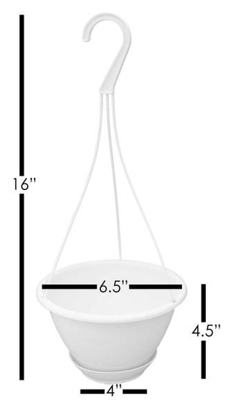 "Garden Elements Out/Indoor Hanging Basket Plastic Planter, White, 6"""