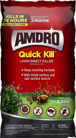 Amdro 100525725 Quick Kill Lawn Insect Killer Granules, Clear, 10 Pounds