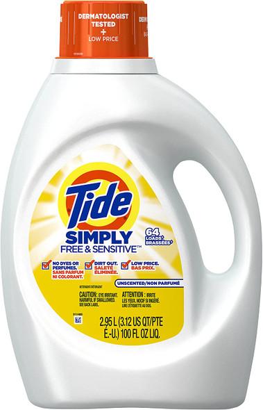 Tide Simply Free & Sensitive Liquid Laundry Detergent, 64 loads (100 oz.)