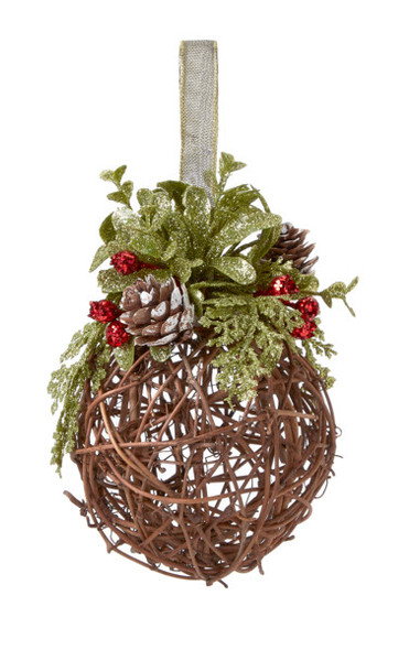 """Ganz Willow Branch Christmas Ornament for Tree with Ribbon, 5.5"""""""
