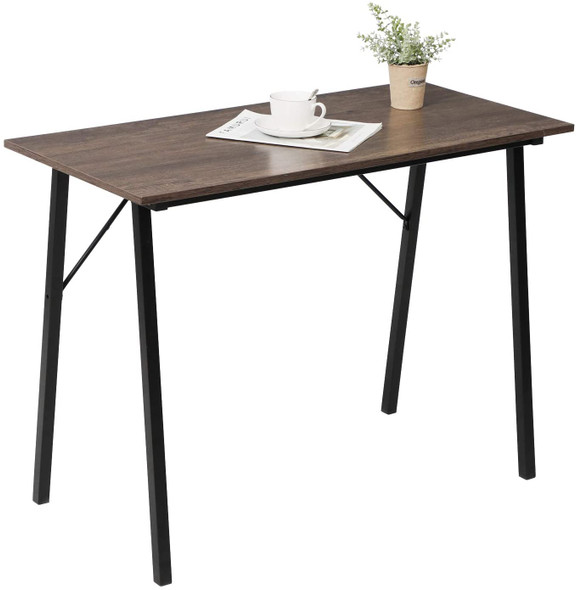 """Coavas Multifuntional Desk for Living Room, Dining Room, Home Office (Metal Frame Rustic Brown), 40"""""""