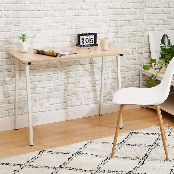 "Coavas Computer Desk for Home Office, Modern Wood, White Oak, 39"""