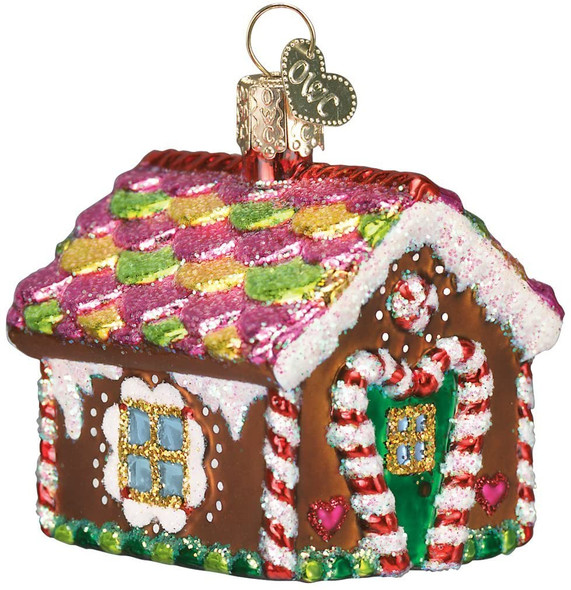 """Old World Christmas Glass Blown Ornament, (#20013) Gingerbread House, 3.5"""""""
