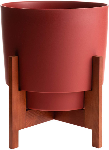 """Bloem Hopson Planter w/ Wood Stand, Burnt Red, 10"""""""