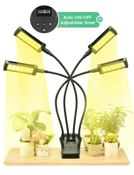 Garden Elements 4 Heads 96W LED Grow Light Growing Lamp for Indoor Plant Hydroponics, Black