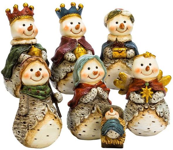 "Kurt S. Adler J7344 7 Piece 6"" Resin Snowmen Nativity Scene Table Set"