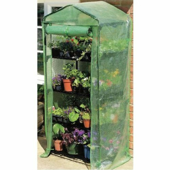 """Gardman 4-Tier Greenhouse with Reinforced Cover, 18"""" L x 27"""" W x 63"""" H"""