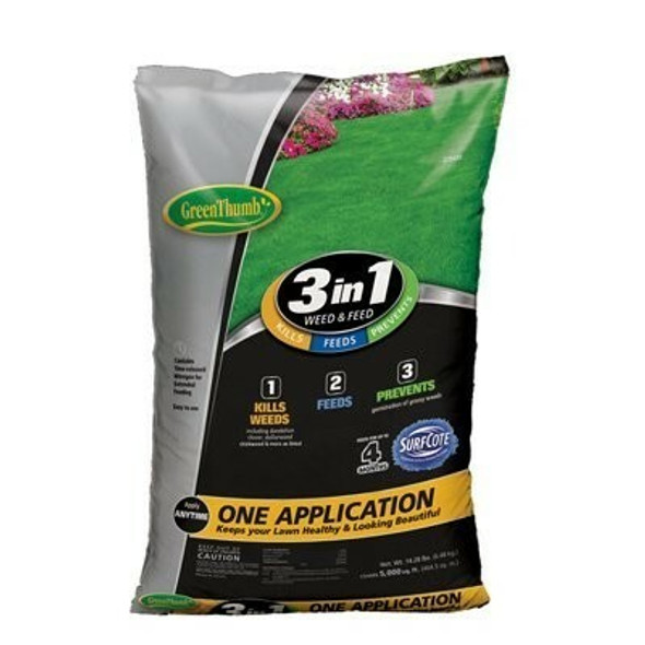 Green Thumb GT23610 3-In-1 Weed & Feed, 5,000 Sq. Ft. Coverage