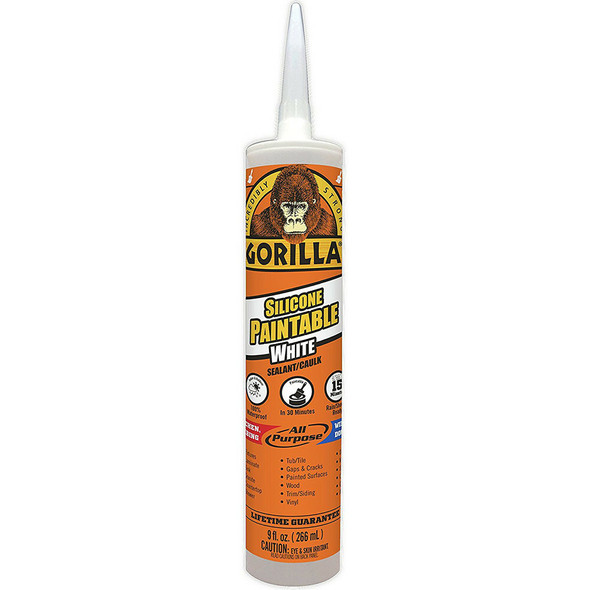 Gorilla Glue 8070002 9 Oz All Purpose Paintable Silicone Sealant, White