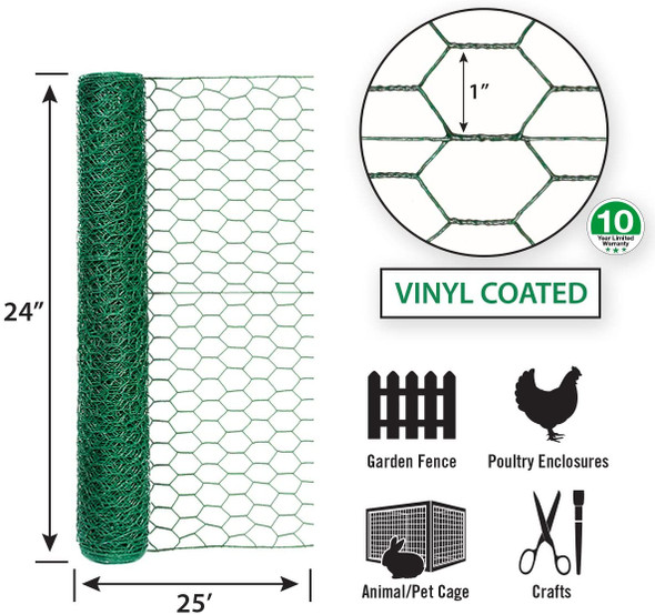 "Garden Zone Poultry Netting 24"" X 25' Steel Green Vinyl Coated"