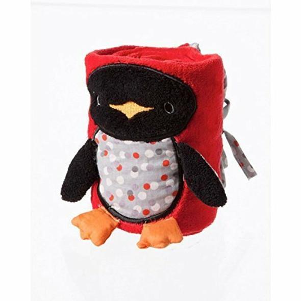 Polka Dot Penguin Rolled Baby Blanket