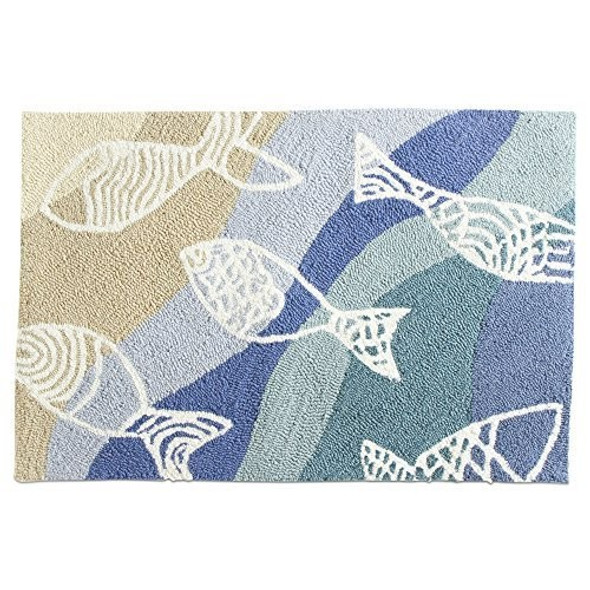 tag Polyester Rug, Fish Design, Multi-Colored