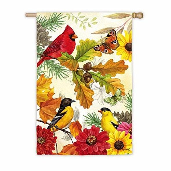 Evergreen Fall Holiday House Satin Flag, Autumn Birds