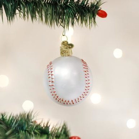 Old World Christmas 44015 Glass Blown Baseball Ornament