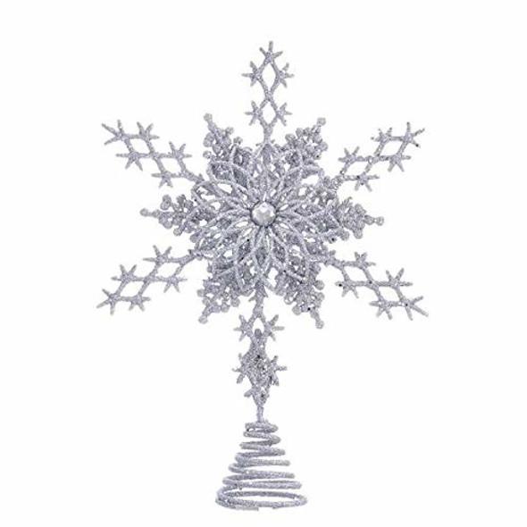 Kurt Adler Kurt S. Adler 8-Inch Silver Star Snowflake Treetop,