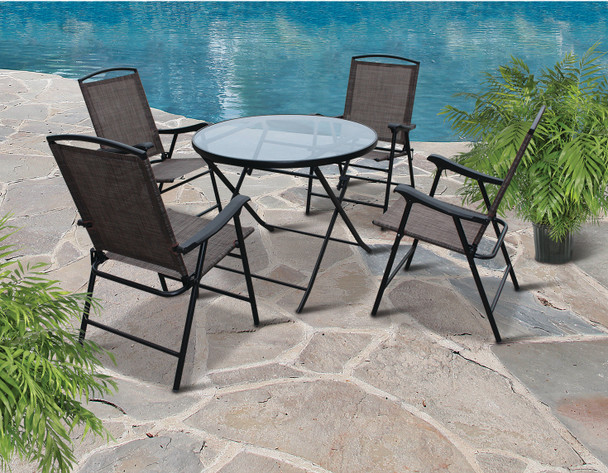Westfield Outdoor S13-S998 SET 5-Pc. Set, Folding Chairs & Table