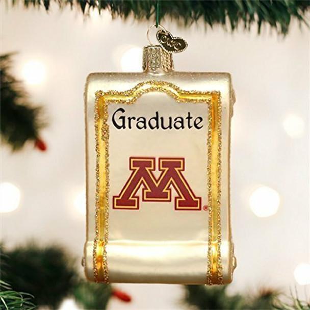 Collegiate Diploma Glass Ornament (Minnesota Golden Gophers)
