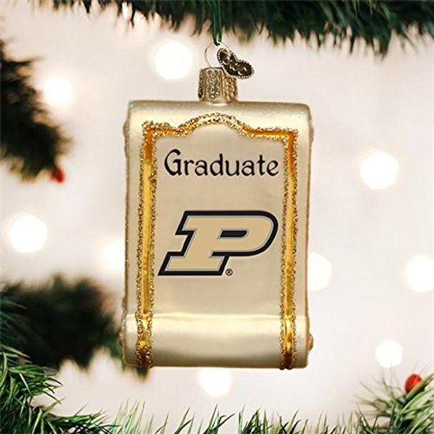 Collegiate Diploma Glass Ornament (Purdue Boilermakers)