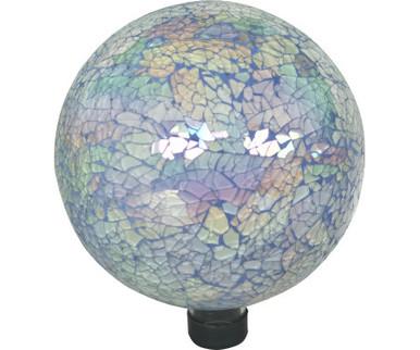 "Gardener/'s Select GSA14BFG03 10/"" Blue w// Flowers Glass Gazing Globe"